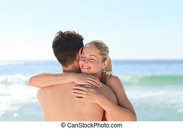 donna, abbracciare, lei, ragazzo, a, il