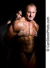 donna, abbracciare, muscolare, uomo