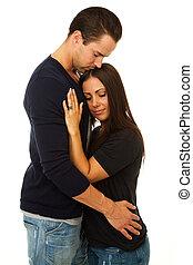 donna, abbracciare, uomo