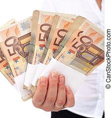 donna, accatastare, euro, mano