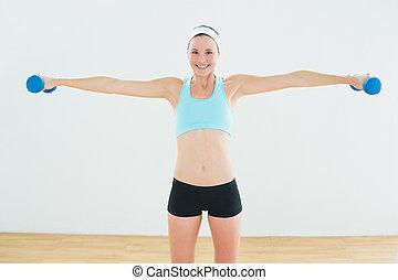 donna, adattare, esercitarsi,  Dumbbells,  studio, idoneità