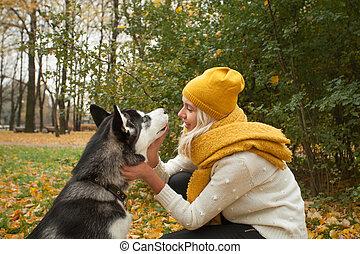 donna, addestramento, cane, rauco, fuori