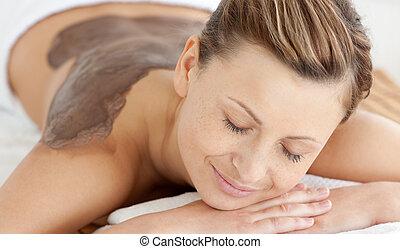 donna, adolescente, massaggio posteriore, godere
