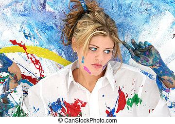 donna, adolescente, pittura