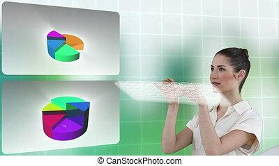 donna affari, accanto a, tabelle