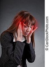 donna affari, con, mal di testa