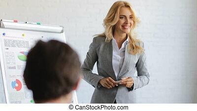 donna affari, condurre, presentazione, mentre,...