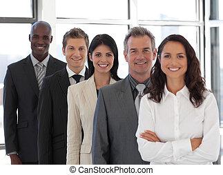 donna affari, condurre, uno, squadra affari