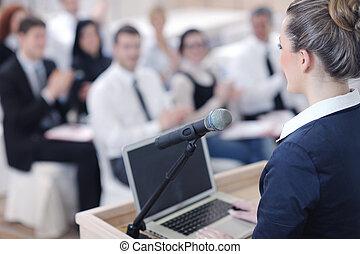 donna affari, dare, presentazione