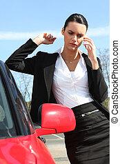 donna affari, dare, uno, chiamata, strada