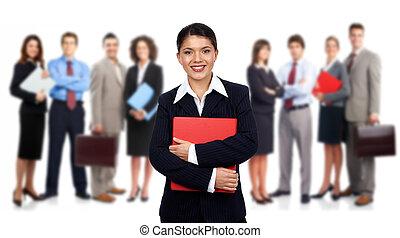 donna affari, e, gruppo, di, lavorante, persone.