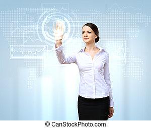 donna affari, e, touchscreen, tecnologia