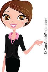 donna affari, esposizione, qualcosa, con, mano