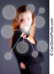 donna affari, spinte, bottone, su, schermo tocco