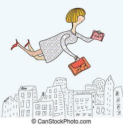 donna affari, volare, lavorare, divertente, cartone animato