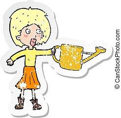 donna, afflitto, adesivo, irrigazione, retro, cartone animato, lattina