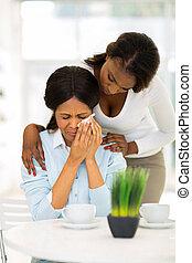 donna africana, confortevole, pianto, madre