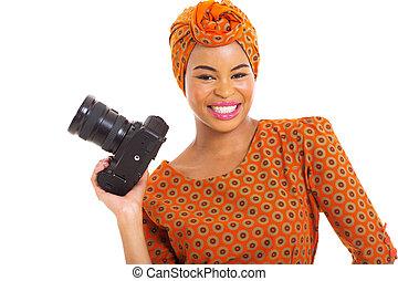 donna, africano, macchina fotografica slr, presa a terra, digitale
