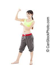 donna aguzzando, giovane, idoneità, muscolo, felice