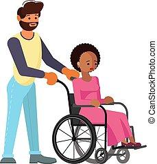donna, aiuto, carrozzella, giovane, invalido, uomo africano