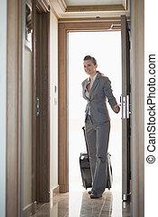 donna, albergo, affari, entrare, stanza