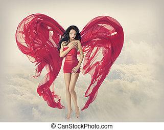 donna, ali angelo, come, forma cuore
