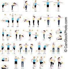 donna, allenamento aerobico, vettore, idoneità, exercises., uomo, illustrations.