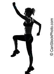 donna, allenamento, idoneità, posa