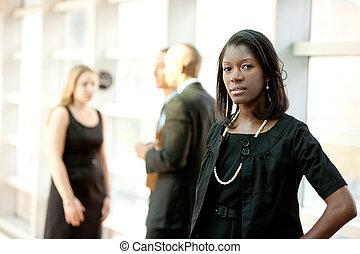 donna americana, affari, africano