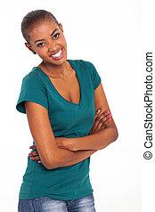 donna americana, afro, attraente