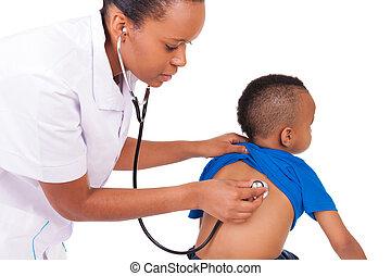 donna americana, bambino, africano, dottore