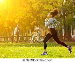 donna americana, correndo, africano, fuori