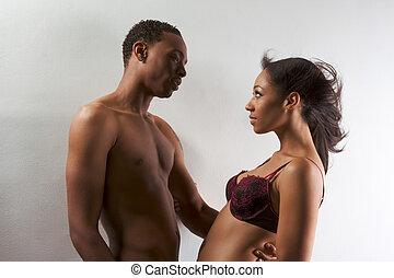 donna, amore, coppia, giovane, uomo nero