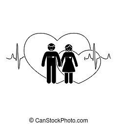 donna, amore, figura, coppia., illustrazione, vettore, uomo bastone