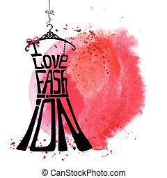 donna, amore, vestire, acquarello, silhouette., parole, fashion., macchia