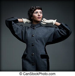 donna, antiquato, collezione, autunno, elegante, outfit.,...