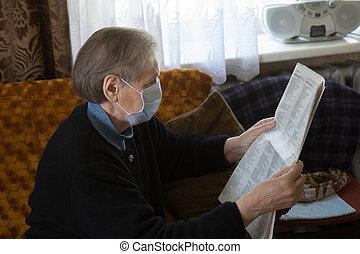donna, anziano, giornale lettura