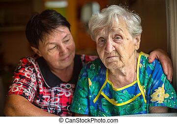 donna, anziano, triste