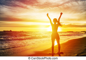 donna, aperto, spiaggia, braccia, applauso, tramonto, spiaggia