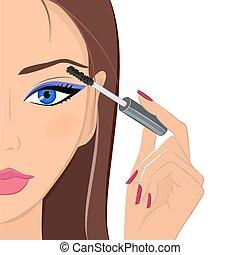 donna, applicare, bellezza, moda, trucco, mascara., attraente, co