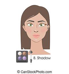 donna, applicare, eyeshadow.