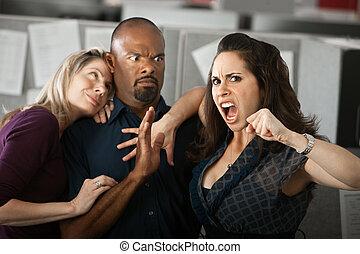 donna arrabbiata, lavoratore, ufficio