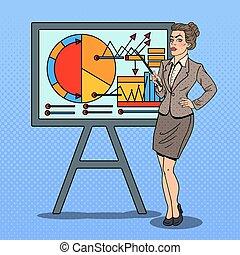 donna, arte, affari, pop, chart., vettore, illustrazione, presentare, bastone indicatore