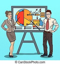 donna, arte, affari, pop, chart., vettore, illustrazione, uomo affari, presentare, bastone indicatore