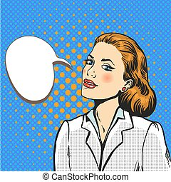 donna, arte, affari, pop, vettore, comico