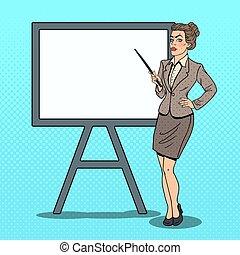 donna, arte, affari, pop, vettore, illustrazione, board., bianco, bastone indicatore