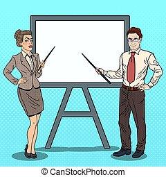 donna, arte, affari, pop, vettore, illustrazione, board., uomo affari, bianco, bastone indicatore