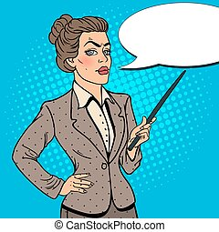 donna, arte, affari, pop, vettore, illustrazione, stick., puntatore
