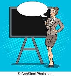 donna, arte, affari, pop, vettore, nero, illustrazione, board., bastone indicatore