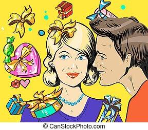 donna, arte, coppia, pop, retro, vendite, vettore, illustrazione, uomo, vacanza, wisper